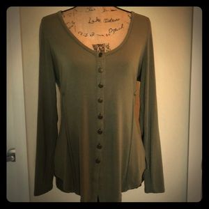 Tops - Sage green button blouse